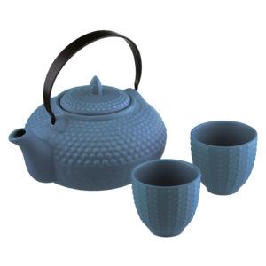 Oriental Hobnail Teapot & 2 Cups Mizu Blue