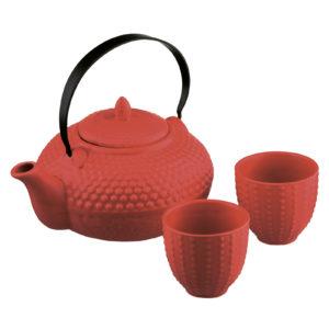 Oriental Hobnail Teapot & 2 Cups Shojohi Red