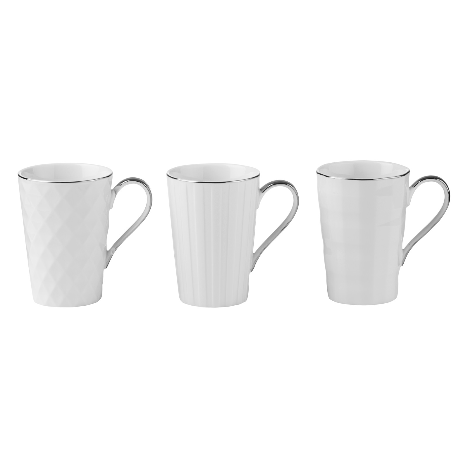 Set of 3 Lux Mugs Silver