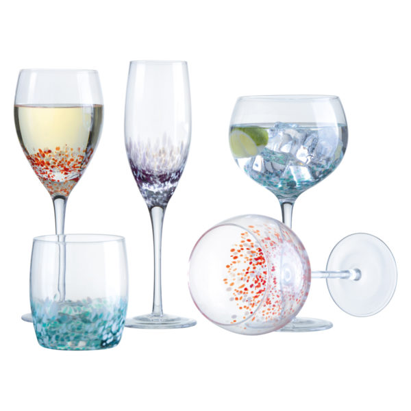 Set of 4 Speckle Champagne Flutes
