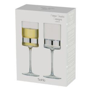 Set of 2 SoHo Wine Glasses Silver