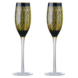 Set of 2 Midnight Peacock Champagne Flutes