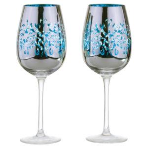 Set of 2 Filigree Wine Glasses Blue